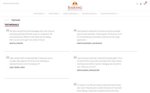 Screenshot of Testimonials Page rajrang.com - Testimonials - captured Feb. 17, 2016