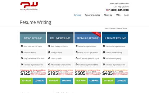 Screenshot of Services Page resumeprofessionalwriters.com - Resume Writing Service Packages - captured Jan. 12, 2016