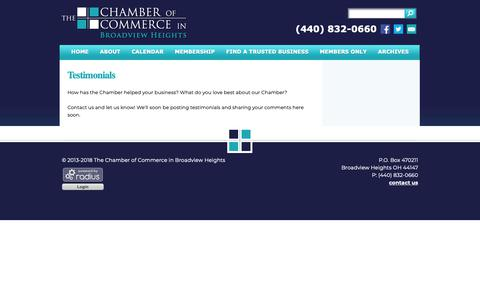 Screenshot of Testimonials Page broadviewhts.org - The Chamber of Commerce in Broadview Heights: Testimonials - captured Sept. 29, 2018