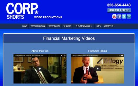 Screenshot of Services Page corpshorts.com - Financial Videos by Corp Shorts | video promos, video bios, management videos - captured Oct. 3, 2014
