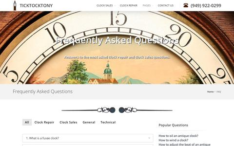 Screenshot of FAQ Page ticktocktony.com - Antique Clocks Frequently Asked Questions - captured Oct. 22, 2018
