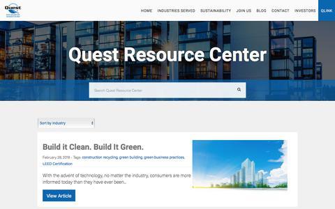 Screenshot of Blog questrmg.com - Quest Resource Center - captured March 6, 2018