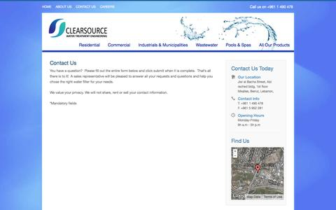 Screenshot of Contact Page clearsourcesarl.com - Clearsource - Water Treatment Lebanon - Contact Us - captured Oct. 2, 2014