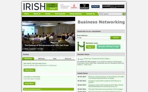 Screenshot of Home Page irishchamber.com.sg - The Irish Chamber of Commerce, Singapore - captured Oct. 6, 2014