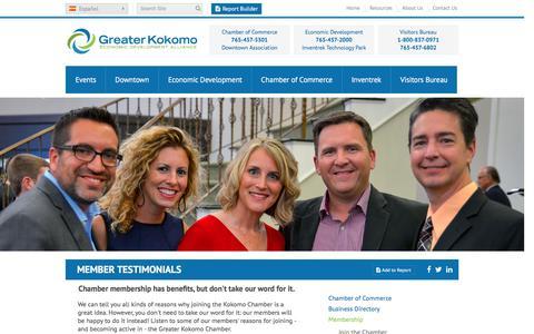 Screenshot of Testimonials Page greaterkokomo.com - Member Testimonials | Greater Kokomo Chamber of Commerce - captured Feb. 2, 2016