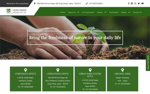 Screenshot of Contact Page thelivinggreens.com - LIVING GREENS | Rooftop Farming, Organic Farming, Rooftop Organic Farming Kit, Indoor and Outdoor Living Green Walls in Jaipur Rajasthan India - captured Jan. 23, 2020