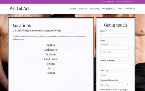 Screenshot of Locations Page wildatart.com.au - Gay Buck's Night Life Drawing Locations - The Artful Hen - captured Oct. 20, 2018