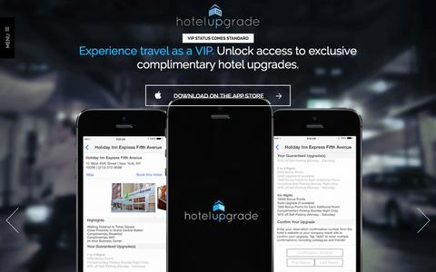 Screenshot of Home Page hotelupgrade.com - HotelUpgrade | VIP Status Comes Standard - captured Jan. 27, 2015
