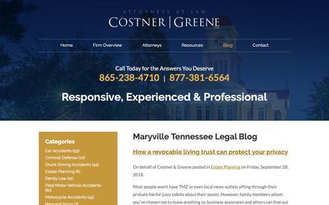 Screenshot of Blog costnergreene.com - Maryville Tennessee Legal Blog | Costner & Greene - captured Sept. 29, 2018