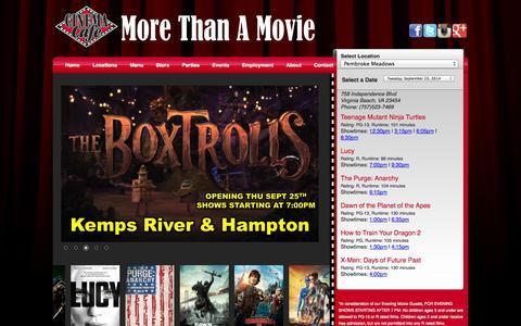 Screenshot of Home Page cinemacafe.com - Cinema Cafe :: Home - captured Sept. 23, 2014