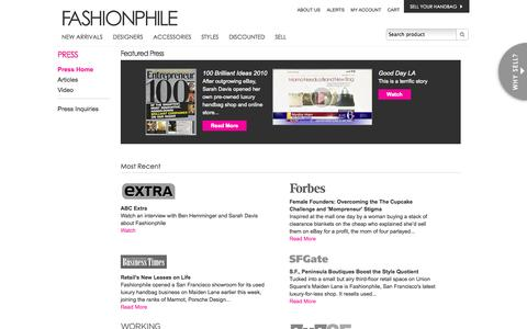 Screenshot of Press Page fashionphile.com - Authentic Pre Owned Luxury Handbags, Discount Designer Bags, Handbags & Purses, Pre Owned / Used Louis Vuitton, Chanel, Gucci Designer Bags, Handbags & Purses For Sale - captured Oct. 29, 2014
