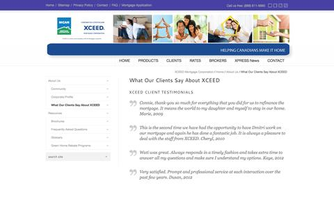 Screenshot of Testimonials Page xceedmortgage.com - Happy Homeowners Say Good Things About XCEED Mortgage Corporation - captured Oct. 3, 2014