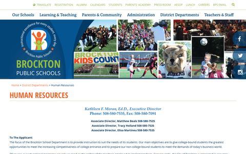 Screenshot of Jobs Page brocktonpublicschools.com - Human Resources - Brockton Public Schools - captured April 2, 2017