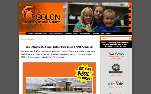 Screenshot of Home Page solon.k12.ia.us - Solon Community School District - District - Home - captured Oct. 6, 2014