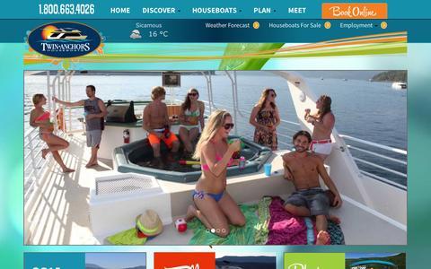 Screenshot of Home Page twinanchors.com - Twin Anchors Houseboat Rentals & Vacations, Shuswap Lake, BC - captured Oct. 6, 2014
