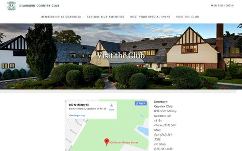 Screenshot of Contact Page Maps & Directions Page dearborncountryclub.net - Visit the Club - Dearborn Country Club - captured Aug. 6, 2018