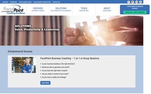 Screenshot of Services Page focalpointcoaching.com - Solutions - captured Nov. 25, 2016