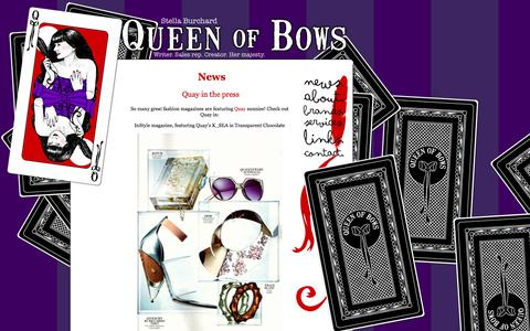 Screenshot of Press Page queenofbows.com - Queen of Bows - Stella Burchard - News - captured Sept. 30, 2014