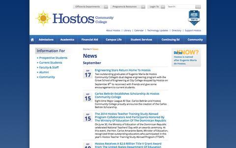 Screenshot of Press Page cuny.edu - Home of Hostos Community College - captured Sept. 18, 2014