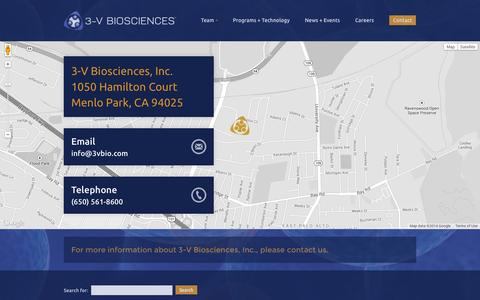 Screenshot of Contact Page 3vbio.com - Contact | 3V-BIOSCIENCES - captured Oct. 9, 2014