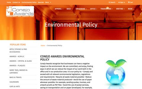 Screenshot of Press Page conejoawards.com - Conejo Awards & Promotional Products - Environmental Policy - captured Nov. 5, 2018