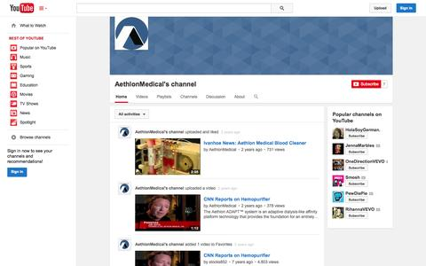 Screenshot of YouTube Page youtube.com - AethlonMedical's channel  - YouTube - captured Oct. 22, 2014