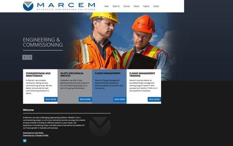 Screenshot of Home Page marcem.com.au - Marcem - Effective Engineering Solutions - captured Feb. 4, 2016