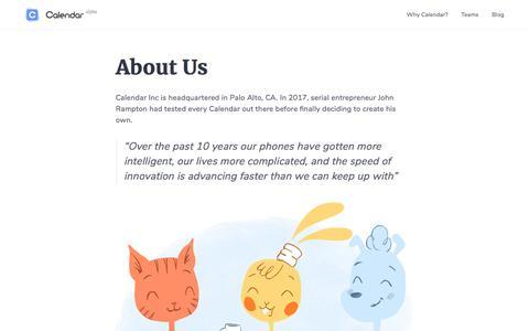 Screenshot of About Page calendar.com - Calendar: Online Meeting Scheduling & Shared Calendar App - captured Sept. 22, 2018