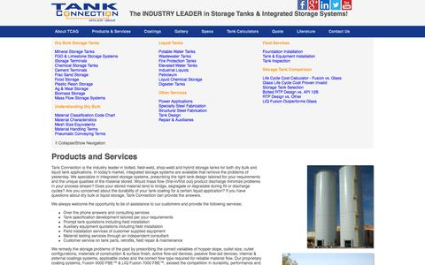 Screenshot of Products Page tankconnection.com - Dry Bulk and Liquid Storage Tanks | Field Services | Tank Connection - captured Oct. 9, 2014