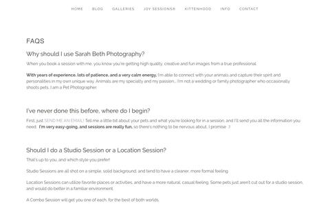 Screenshot of FAQ Page sarahbethphotography.com - FAQs » Minneapolis Saint Paul Minnesota Dog & Pet Photographer | Studio Pet Photography | Commercial | Joy Sessions - captured May 28, 2017