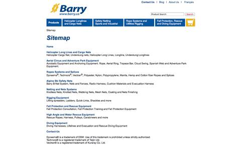 Screenshot of Site Map Page barry.ca - Sitemap - captured Sept. 22, 2014