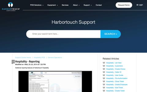 Screenshot of Support Page harbortouch.com - Hospitality - Reporting : Harbortouch Support Center - captured Oct. 9, 2018