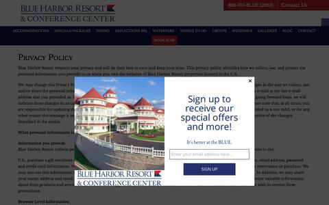 Screenshot of Privacy Page blueharborresort.com - Resort in Wisconsin, Madison Area Resort - Blue Harbor Privacy Policy - captured Oct. 10, 2017