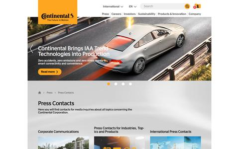 Screenshot of Press Page continental.com - Press Contacts Continental AG - captured July 9, 2019