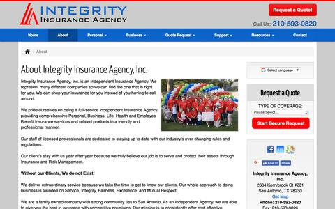 Screenshot of About Page integrityins.com - About Integrity Insurance Agency, Inc. in San Antonio Texas - Integrity Insurance Agency, Inc. - captured Oct. 12, 2018