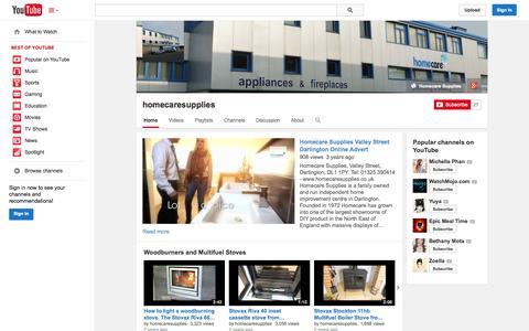 Screenshot of YouTube Page youtube.com - homecaresupplies  - YouTube - captured Oct. 22, 2014