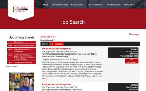 Screenshot of Jobs Page nchcchamber.com - Job Search - New Castle-Henry County Chamber of Commerce , IN - captured Feb. 24, 2016