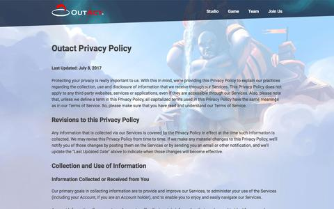 Screenshot of Privacy Page outact.net - Outact, Inc. - captured Oct. 22, 2017
