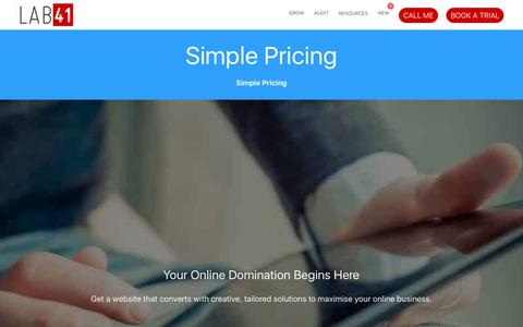Screenshot of Pricing Page lab41.co - Simple Pricing • Lab41 - captured July 15, 2018