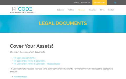 Screenshot of Terms Page rfcode.com - Legal - captured Nov. 1, 2017