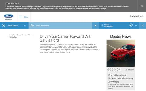 Screenshot of Jobs Page salujaford.in - Choose the right career path with Saluja Ford - captured Oct. 4, 2017