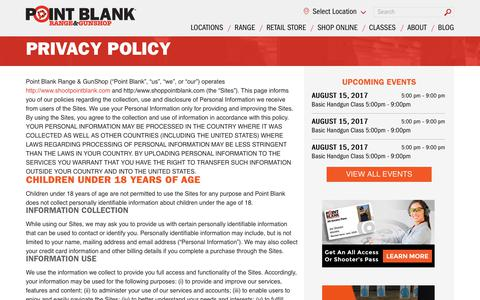 Screenshot of Privacy Page shootpointblank.com - Privacy Policy | Point Blank Shooting Range & GunShop - captured Aug. 14, 2017