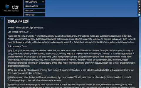 Screenshot of Terms Page ddr.com - Terms of Use | ddr.com - captured Sept. 23, 2014