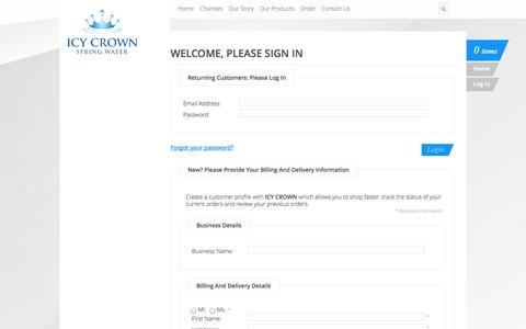 Screenshot of Login Page icycrown.com.au - Login : Icy Crown Spring Water - captured Oct. 6, 2014