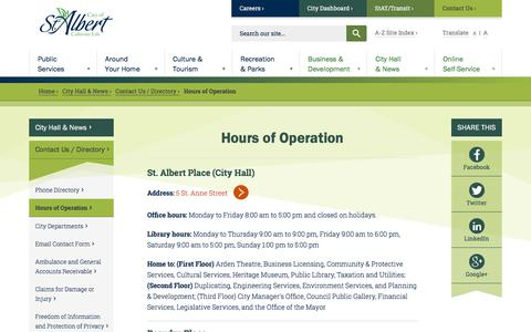 Screenshot of Hours Page stalbert.ca - Hours of Operation | City of St. Albert - captured Sept. 23, 2018