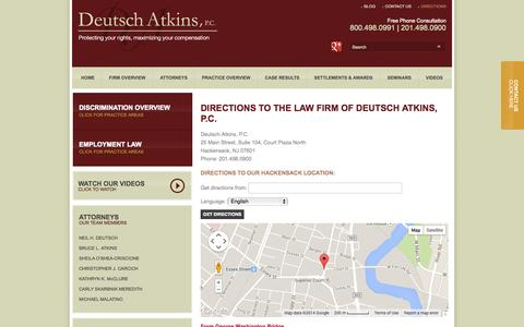 Screenshot of Maps & Directions Page njemployeerights.com - Maps & Directions To The Law Office Of Deutsch Atkins, P.C. - captured Oct. 5, 2014