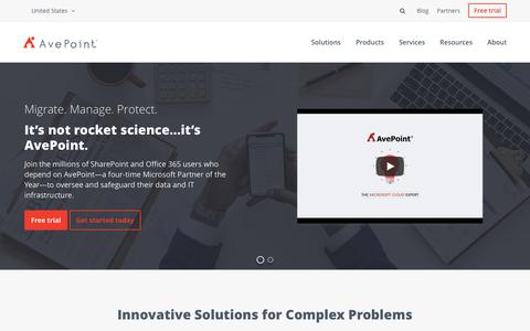 Screenshot of Home Page avepoint.com - Manage, Migrate, & Protect Your SharePoint & Office 365 Data | AvePoint - captured July 9, 2018