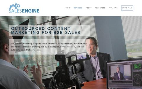 Screenshot of About Page Services Page salesenginemedia.com - Outsourced Content Marketing — Sales Engine Media - captured March 13, 2016