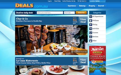 Screenshot of Home Page deals.com.au - Unbeatable Experiences Deals & Discounts - Deals.com.au - captured Jan. 15, 2016