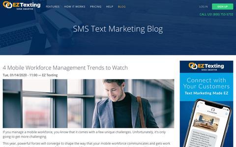Screenshot of Blog eztexting.com - Text Messaging Blog   EZ Texting - captured Jan. 22, 2020